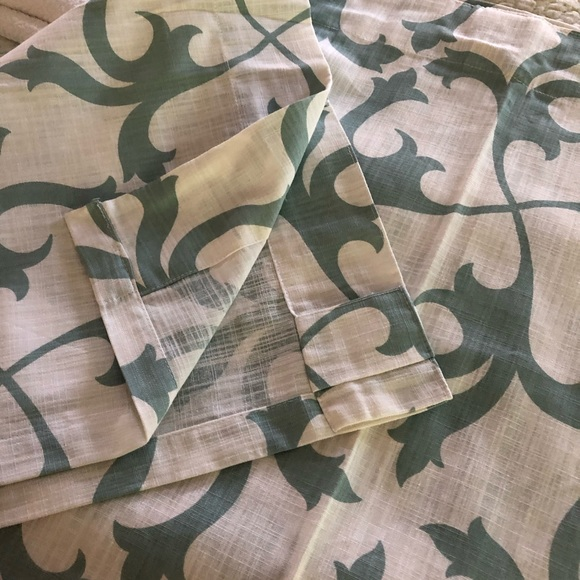 Two curtain panels. Mint Green & White. NWOT